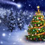 Ein bunter Weihnachtsbaum nachts draußen bei Schneefall
